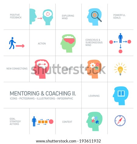 vector mentoring and coaching soft skills icons set modern flat design colorful illustrations infographic isolated on white background - stock vector