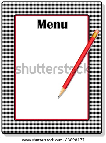 vector - Menu.  Copy space to add your own text to customize this retro black, red & white gingham menu with red pencil. EPS8 organized in groups for easy editing. - stock vector