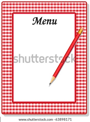 vector - Menu. Copy space to add your own text to customize this retro red & white gingham menu with red pencil. EPS8 organized in groups for easy editing. - stock vector