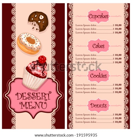 Vector menu design cake house bakery stock vector 191595935 vector menu design for cake house bakery restaurant and cafe altavistaventures Image collections
