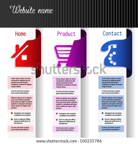 Vector menu navigation labels - web template - home, product, contact - stock vector