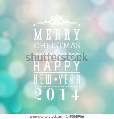 Vector Merry Christmas and Happy New Year card design. Perfect as invitation or announcement. - stock vector