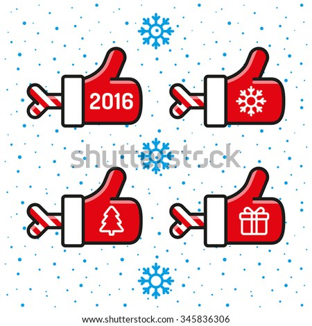 Vector Merry Christmas and Happy New Year card design. Santa Claus hand like on a snowfall background - stock vector