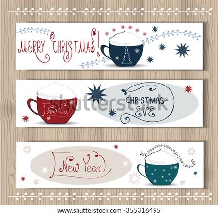 Vector merry christmas happy new year stock vector 355316495 vector merry christmas and happy new year set designppuccino coffee cuprfect as stopboris Gallery