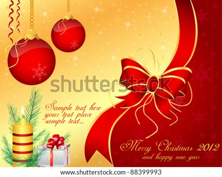Vector Merry Christmas Background Template Set - stock vector