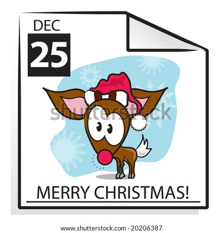 Vector Merry Christmas calendar page with Rudolf in a Santa hat