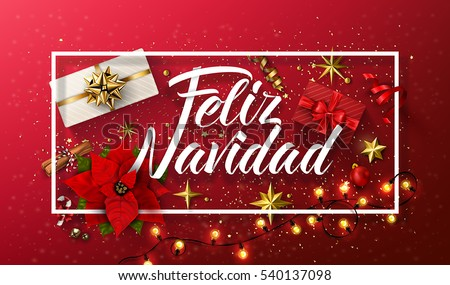 Vector merry christmas card template greetings stock vector vector merry christmas card template with greetings in spanish language feliz navidad m4hsunfo