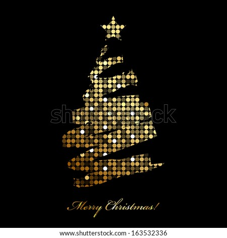 Vector Merry Christmas card with christmas tree from disco lights - stock vector