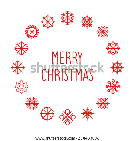 Vector Merry Christmas card with round snowflakes frame - stock vector