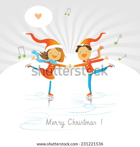 Vector merry christmas greeting card, joyful boy and girl ice skating, expressing love. - stock vector