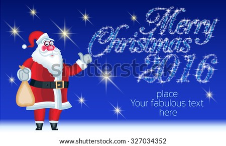 Vector merry christmas greeting card funny stock vector 327034352 vector merry christmas greeting card with funny santa claus delivery gifts and magical text with m4hsunfo