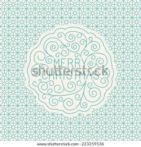 Vector merry christmas hand lettering in outline style - greeting card with decorative typography and line flourishes on blue pattern background - stock vector
