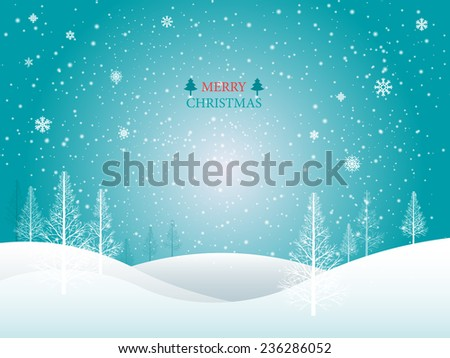 Vector Merry Christmas Landscape.  - stock vector