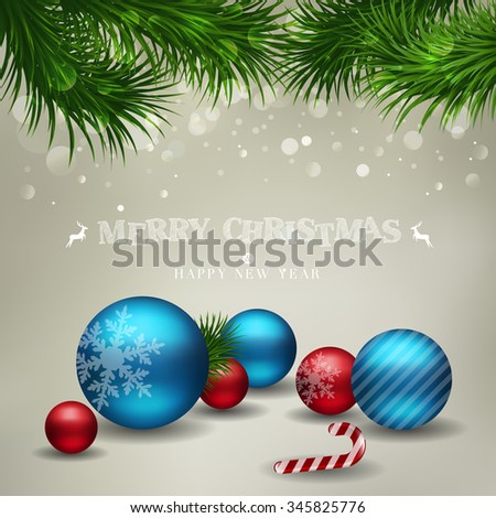 Vector Merry Christmas lettering over holiday background with ornaments glossy balls