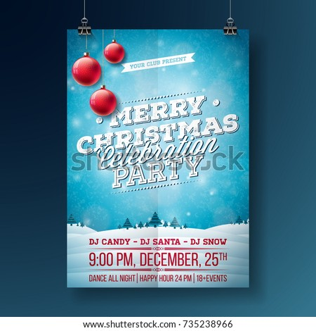 Vector Merry Christmas Party Flyer Illustration With Typography And Holiday Elements On Blue Background Winter