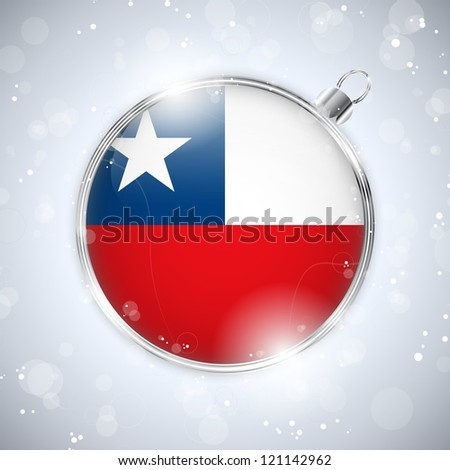 Vector - Merry Christmas Silver Ball with Flag Chile - stock vector