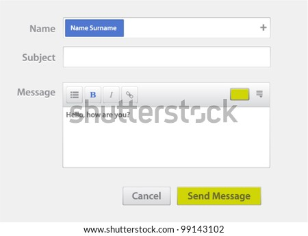 Vector message form - stock vector