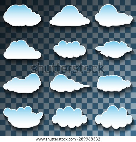 Vector Messages in the form of Clouds on Transparent background. Set, Illustration  - stock vector