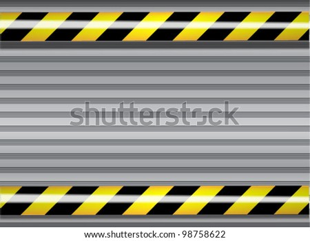 Vector metal background with yellow and black do not cross lines