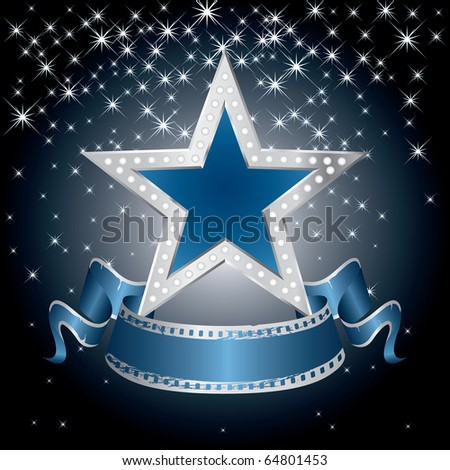 vector metal blue star on the starry night - stock vector
