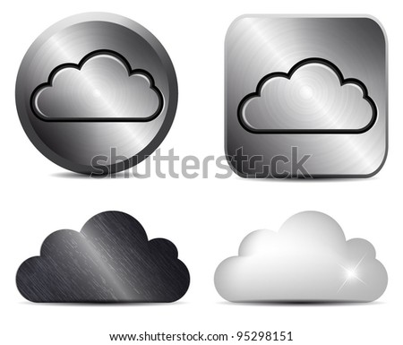 Vector metal button with cloud icon - stock vector
