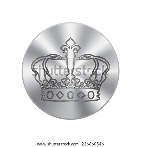 Vector metal button with Crown icons