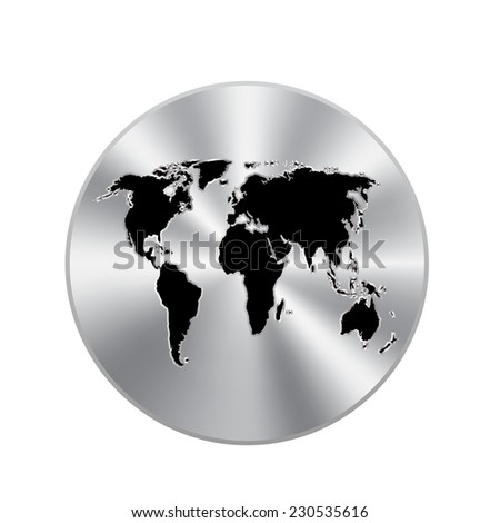 Vector metal button with Political World Map Illustration - stock vector