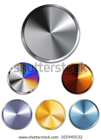 Vector - Metal Buttons. Silver, Gold, Copper - stock vector