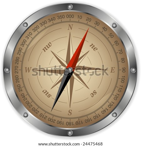 Vector metal compass - stock vector
