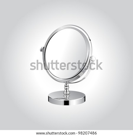 Vector metal make-up mirror. - stock vector