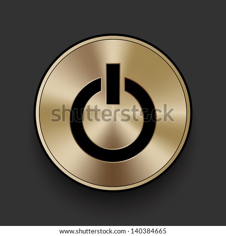 Vector metal multimedia power icon / button, graphic design element