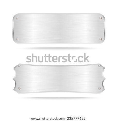Vector Metal name plate or Metal label with screws.Vector illustration - stock vector