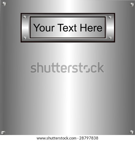 Vector Metal Plate To Personalize - stock vector