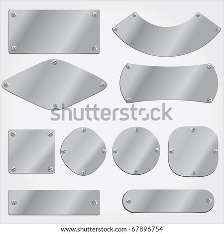 vector metal plates set,  fully editable