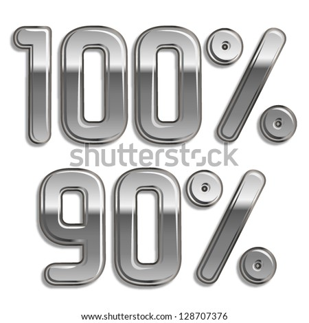 Vector metal rounded font  Percents templates for sale 100%, 90% - stock vector