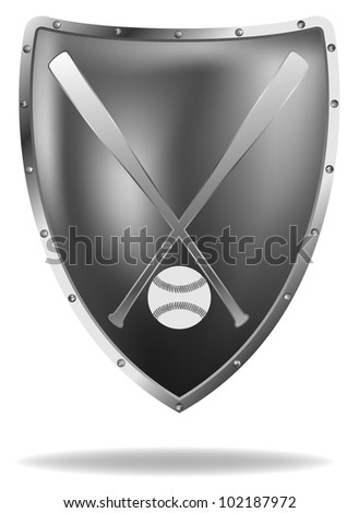 vector metal shield with baseball bats and ball, eps8 file, gradient mesh used, raster version available - stock vector