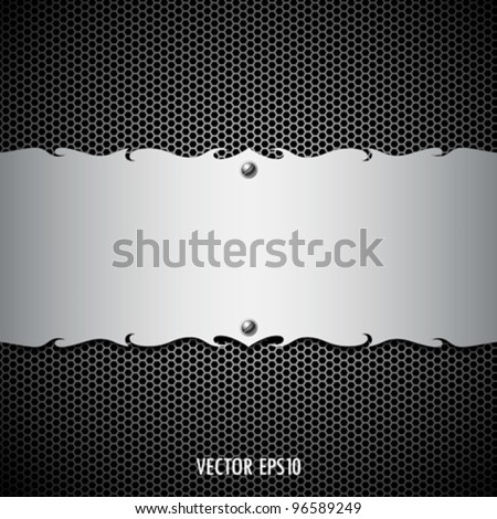 Vector metal stainless steel modern plate backgrounds, illustration - stock vector