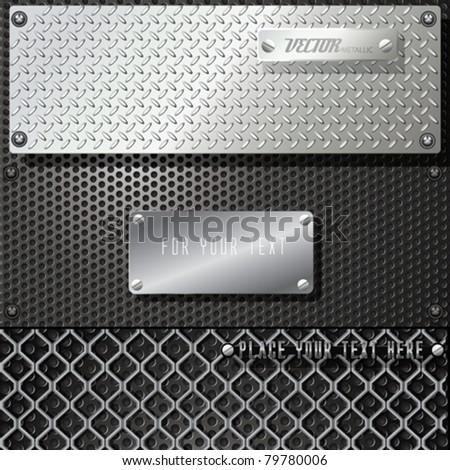 Vector Metal Template Background Set - stock vector