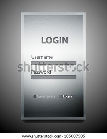 vector metal texture login register form stock vector royalty free