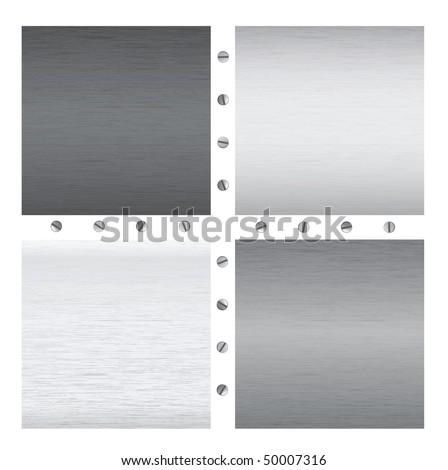 vector metal textures with screws - stock vector