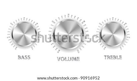vector metal volume treble bass knobs - stock vector