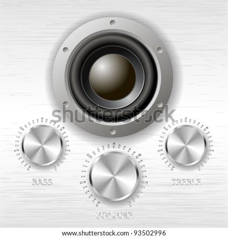 vector metal volume treble bass knobs and speaker - stock vector