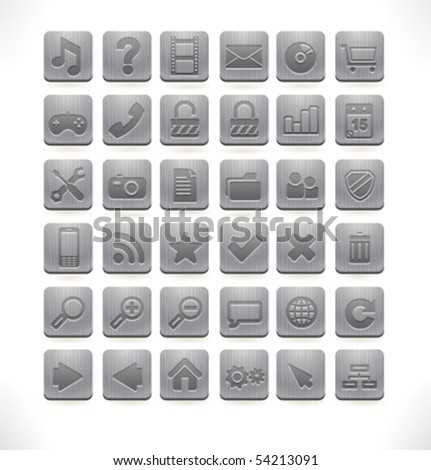 Vector metal web icons