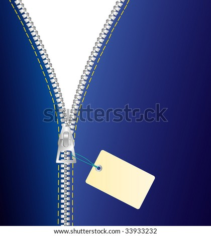 vector metal zipper in three layers - stock vector