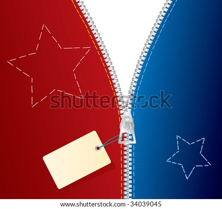 vector metal zipper with blank tag - stock vector