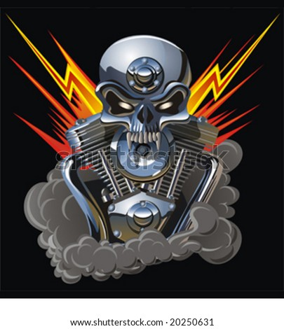 Vector metall skull with engine. Separated by layers for easy edit. More vector skulls see in my portfolio. - stock vector