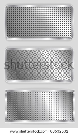 vector metallic banners set - stock vector