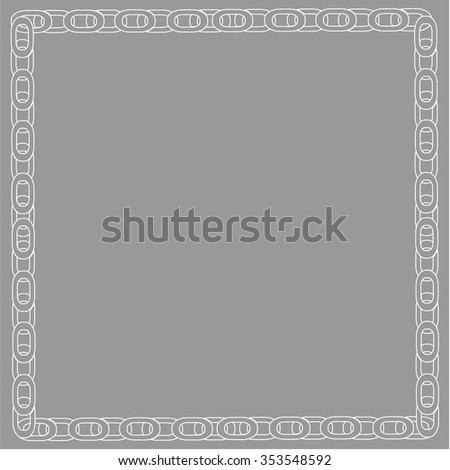Vector metallic chain frame background  black and withe - Illustration