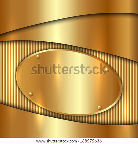 Vector metallic gold decorative  background with oval plate - stock vector