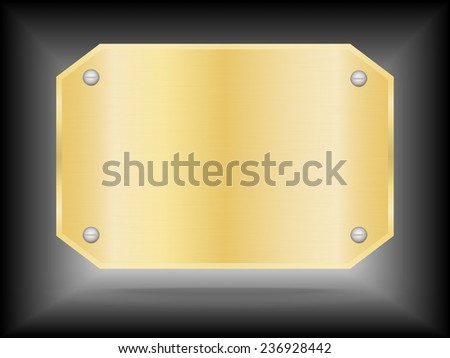 Vector Metallic gold name plate or Gold label metal.Vector illustration